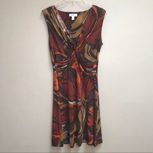 Dress Barn Brown Orange Sleeveless Dress Size 12